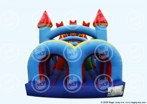 Kid's inflatable castle obstacle course